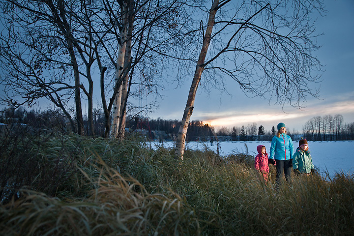 11.10.2012  Amalie Couvillion and daughters Josephine and Lucy at Westchester Lagoon, Anchorage