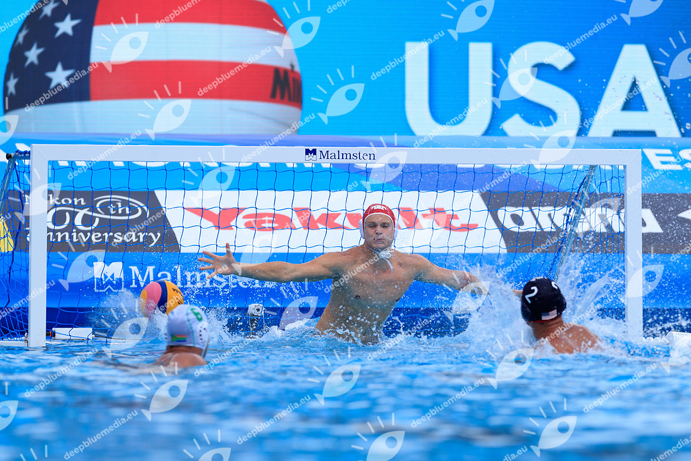 Julian Lewis of South Africa<br /> South Africa (white cap) -  United States of America (blue cap)<br /> Preliminary Round Water Polo Women<br /> Day10  23/07/2017 <br /> XVII FINA World Championships Aquatics<br /> Alfred Hajos Complex Margaret Island  <br /> Budapest Hungary <br /> Photo @Deepbluemedia/Insidefoto Photo @Marcelterbals/Deepbluemedia/Insidefoto