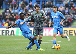December 15, 2018 - Getafe, Madrid, Spain - Oyarzabal of Real Sociedad and Djene of Getafe in action during La Liga Spanish championship, , football match between Getafe and Real Sociedad, December 15, in Coliseum Alfonso Perez in Getafe, Madrid, Spain. (Credit Image: © AFP7 via ZUMA Wire)