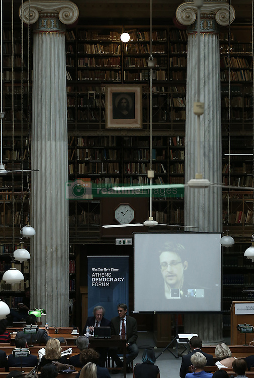September 16, 2016 - Athens, Attica, Greece - Edward Snowden, former US intelligence officer and whistleblower, speaks via a video link, at the National Library of Greece, on September 16, 2016, during the session : Google Hangout, Privacy vs Security, in the context of the fourth annual Athens Democracy Forum. (Credit Image: © Panayiotis Tzamaros/NurPhoto via ZUMA Press)