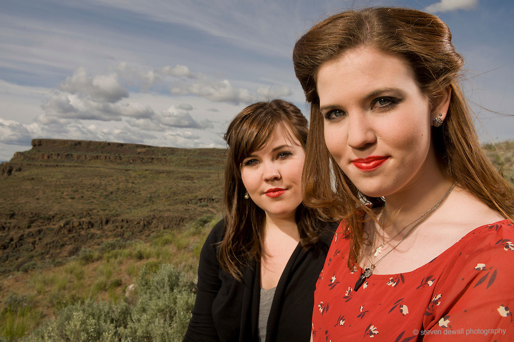 Quincy, WA. - May 28th, 2011 the Secret Sisters pose for a portrait backstage at the Sasquatch Music Festival in George, WA. United States