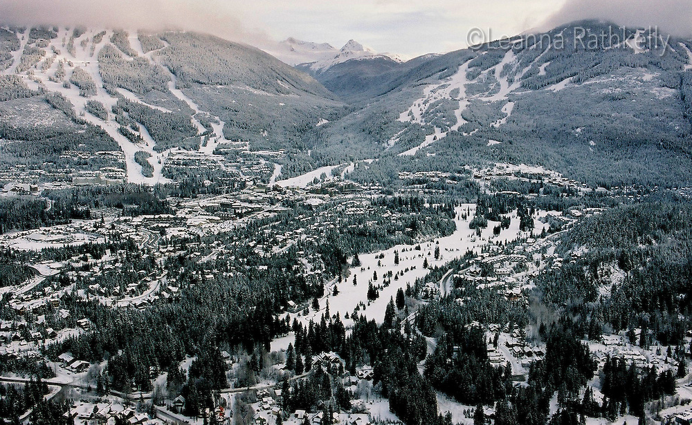 Whistler and Blackcomb mountains as seen from a helicopter, winter