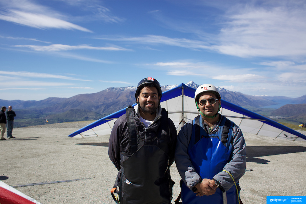 during a tandem Hang Glider flight from Coronet Peak, Queenstown, New Zealand. 7th November, 2011
