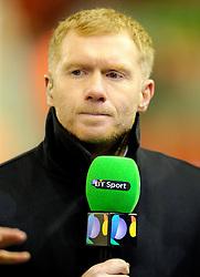 Paul Scholes on duty for BT Sport - Photo mandatory by-line: Matt McNulty/JMP - Mobile: 07966 386802 - 10/02/2015 - SPORT - Football - Liverpool - Anfield - Liverpool v Tottenham Hotspur - Barclays Premier League