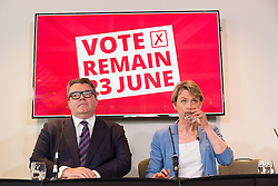 © Licensed to London News Pictures. 10/06/2016. LONDON, UK.  TOM WATSON and YVETTE COOPER prepare to make a speech detailing an analysis of how a Conservative Brexit Budget would look if the UK were to vote to leave the European Union (EU) in a referendum. The Labour Party analysis warns of the implications a Brexit Budget would have on public services and family finances, including the introduction of more than £18bn in social security cuts and tax rises.  Photo credit: Vickie Flores/LNP