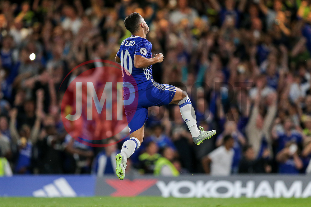 Eden Hazard of Chelsea celebrates scoring a goal from the penalty spot to make it 1-0 - Rogan Thomson/JMP - 15/08/2016 - FOOTBALL - Stamford Bridge Stadium - London, England - Chelsea v West Ham United - Premier League Opening Weekend.