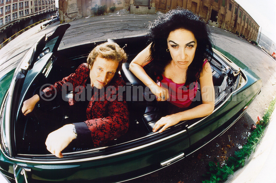 """1994:  Portrait of Diamanda Galas and John Paul Jones, sitting in a convertible car  in Jersey City, New Jersey,  shot for the release of their album """"The Sporting Life""""..Copyright 2010 Catherine McGann/ All RIghts Reserved"""