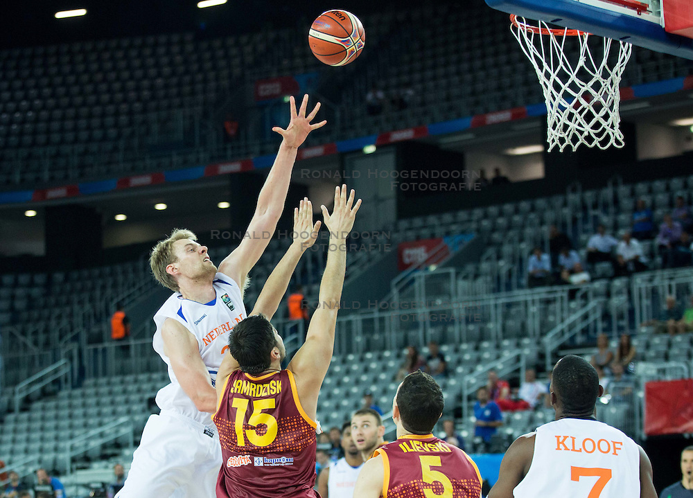 06-09-2015 CRO: FIBA Europe Eurobasket 2015 Nederland - Macedonie, Zagreb<br /> Henk Norel of Netherlands vs Predrag Samardziski of Macedonia during basketball match between Netherlands and Macedonia at Day 2 in Group C of FIBA Europe Eurobasket 2015, on September 6, 2015, in Arena Zagreb, Croatia. Photo by Vid Ponikvar / RHF