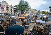 Outdoor Café van Zuylen on the Torensluis bridge on the corner of the Singel canal in Amsterdam.