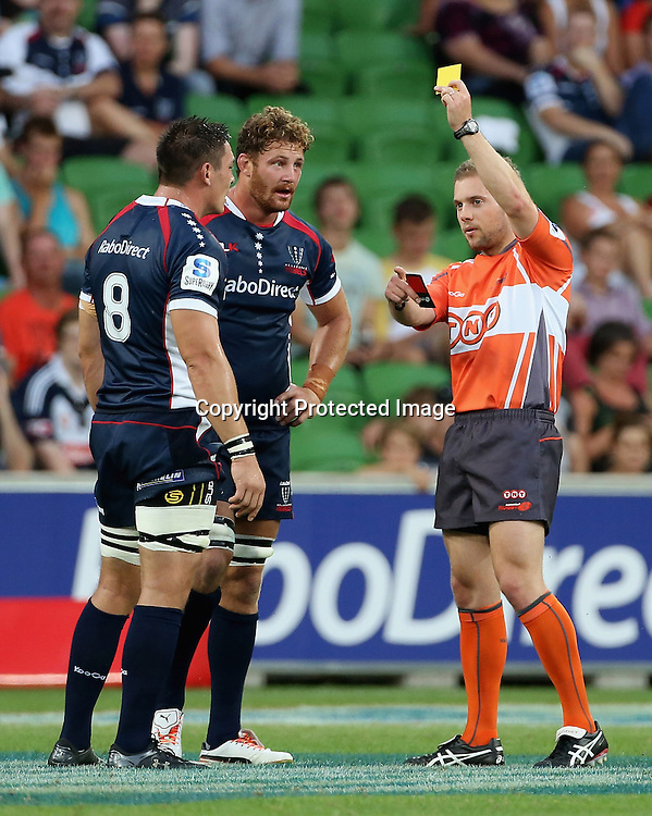 Scott Higginbotham of Rebels is sent off during the Rebels v Force Super Rugby Round 1 match at AAMI Park, Melbourne, Australia. Friday, 15 February, 2013. Photo: Hamish Blair/PHOTOSPORT