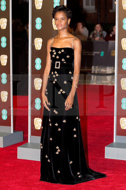 © Licensed to London News Pictures. 18/02/2018. LETITIA WRIGHT arrives on the red carpet for the EE British Academy Film Awards 2018, held at the Royal Albert Hall, London, UK. Photo credit: Ray Tang/LNP