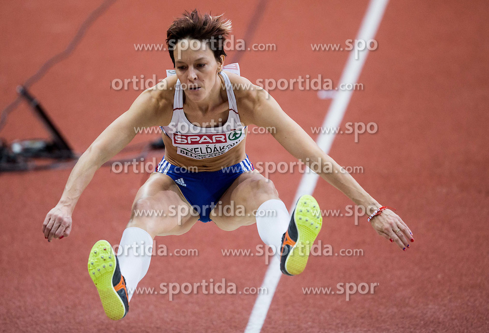 Dana Veldakova of Slovakia competes in the Triple Jump Women Qualification on day one of the 2017 European Athletics Indoor Championships at the Kombank Arena on March 3, 2017 in Belgrade, Serbia. Photo by Vid Ponikvar / Sportida