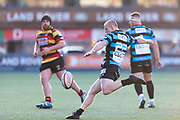 Cardiffs' outside half Dan Fish clears his lines.<br /> <br /> Cardiff Arms Park, Cardiff, Wales, UK - Saturday 19th October, 2019.<br /> <br /> Images from the Indigo Welsh Premiership rugby match between Cardiff RFC and Carmarthen Quins RFC. <br /> <br /> Photographer Dan Minto<br /> <br /> mail@danmintophotography.com <br /> www.danmintophotography.com