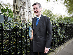 © Licensed to London News Pictures. 23/04/2019. London, UK. JACOB REES-MOGG is seen arriving at The Houses of Parliament in London. Number 10 will continue talks with labour today in an attempt to reach a compromise on the withdrawal agreement from the EU. Photo credit: Ben Cawthra/LNP