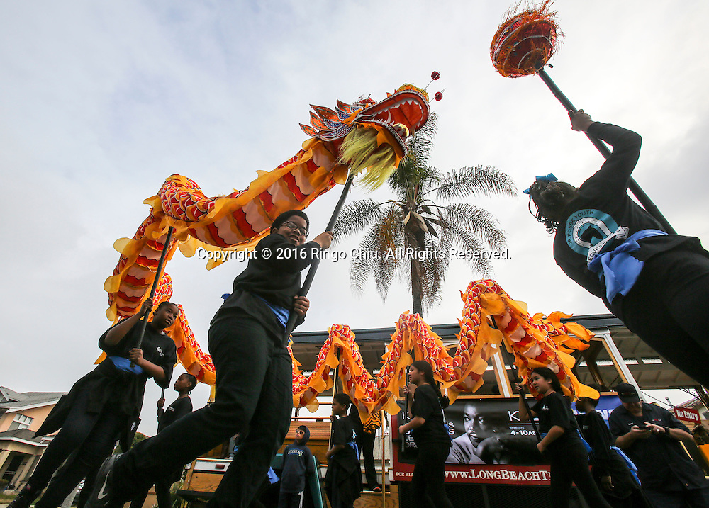 Young dragon dancers perform during the Martin Luther King Jr. parade in Los Angeles on Monday Jan. 18, 2016. The 31st annual Kingdom Day Parade honoring Martin Luther King Jr. was themed &quot;Our Work Is Not Yet Done&quot;(Photo by Ringo Chiu/PHOTOFORMULA.com)<br /> <br /> Usage Notes: This content is intended for editorial use only. For other uses, additional clearances may be required.