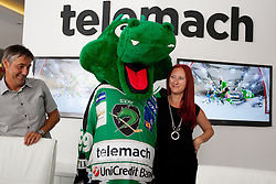 Dragon Hoki, Mitja Mejac and Ditka Maucec of UPC Telemach at HDD UPC Telemach Olimpija Press Conference about new main sponsor UPC Telemach as main sponsor of HDD Olimpija, on June 20, 2012 at UPC Telemach, Ljubljana, Slovenia. (Photo By Matic Klansek Velej / Sportida)