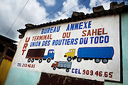 Signboard identifying a drivers union office at the Terminal du Sahel, a large truck terminal in Lome, Togo on Wednesday October 1, 2008.