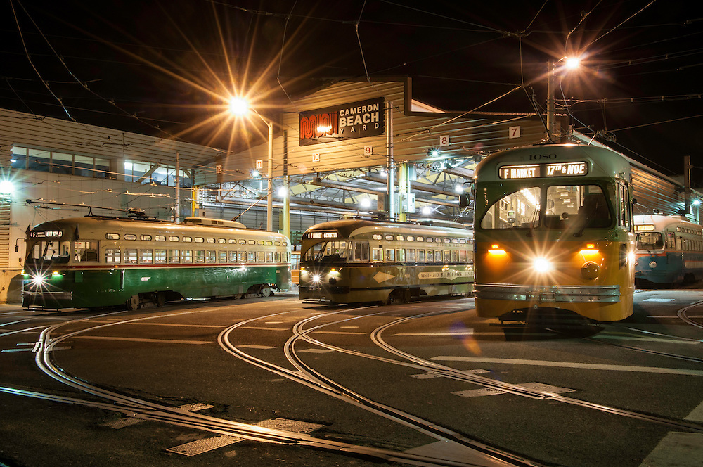 Streetcars pull into Beach Yard at the end of the night | June 17, 2012