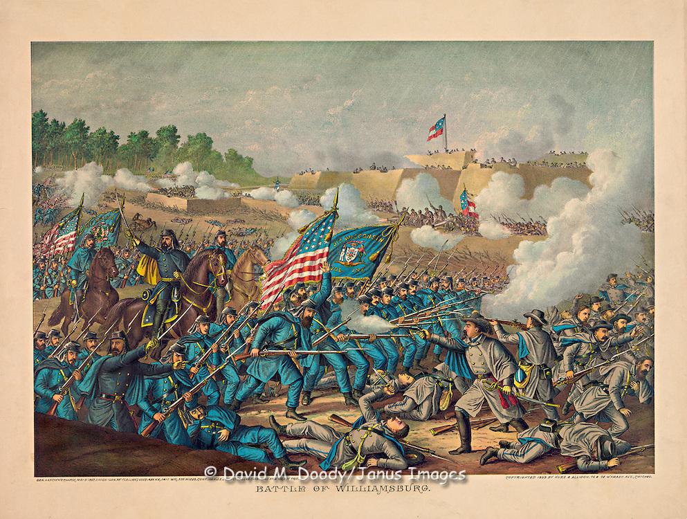 Vintage Illustration:  Battle of Williamsburg, Virginia Gen. Hancock's charge, May 5, 1862. Union (Gen. McClellan)  Conf. (Gen. J.E. Johnston) American Civil War