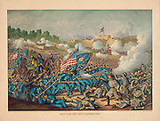 Vintage Illustration:  Battle of Williamsburg, Virginia Gen. Hancock's charge, May 5, 1862. Union (Gen. McClellan)  Conf. (Gen. J.E. Johnston) American Civil War