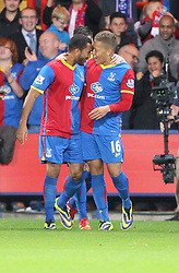 Crystal Palace's Adrian Mariappa scores his sides first goal and celebrates Crystal Palace's Dwight Gayle  - Photo mandatory by-line: Robin White/JMP - Tel: Mobile: 07966 386802 21/10/2013 - SPORT - FOOTBALL - Selhurst Park - London - Crystal Palace V Fulham - Barclays Premier League