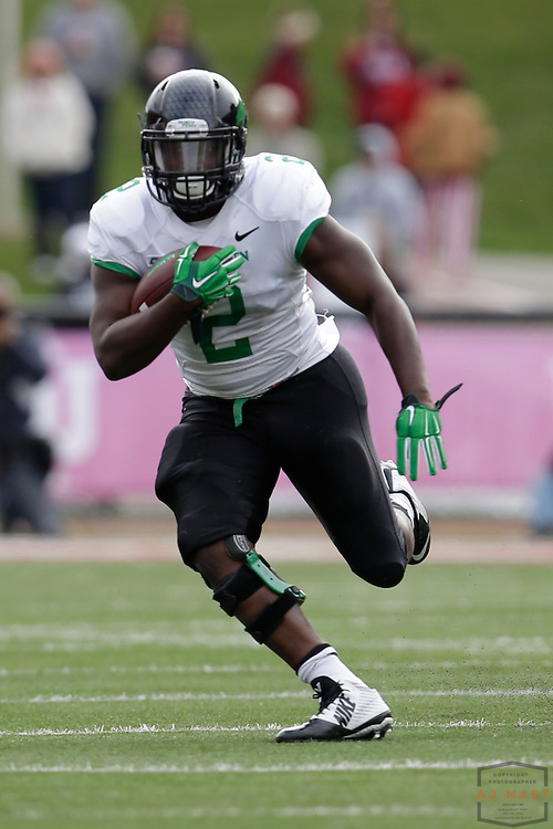 04 October 2014: North Texas Mean Green running back Reggie Pegram (2)  as the Indiana Hoosiers played North Texas in a NCAA college football game in Bloomington, IN.