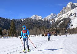 22.03.2018, Ramsau am Dachstein, AUT, Red Bull Der lange Weg, Überquerung Alpenhauptkamm, längste Skitour der Welt, im Bild v. l. Philipp Reiter (GER), Bernhard Hug (SUI), David Wallmann (AUT) // during the Red Bull Der lange Weg, crossing of the main ridge of the Alps, longest ski tour of the world, in Ramsau am Dachstein, Austria on 2018/03/22. EXPA Pictures © 2018, PhotoCredit: EXPA/ Martin Huber