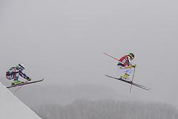February 23, 2018 - Pyeongchang, SOUTH KOREA - 180223 Sandra Näslund of Sweden and Nikol Kucerova of Czech Republic competes in the Women's Freestyle Skicross 1/8 Final during day fourteen of the 2018 Winter Olympics on February 23, 2018 in Pyeongchang..Photo: Joel Marklund / BILDBYRÃ…N / kod JM / 87646 (Credit Image: © Joel Marklund/Bildbyran via ZUMA Press)