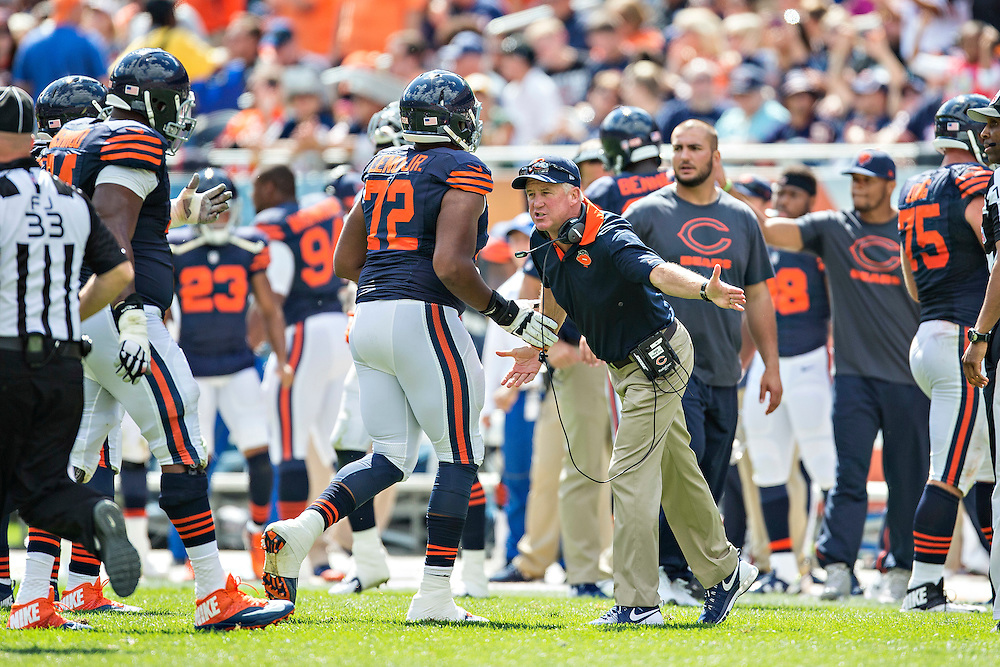 CHICAGO, IL - SEPTEMBER 13:  Head Coach John Fox of the Chicago Bears celebrates with his players as they come off the field during a game against the Green Bay Packers at Soldier Field on September 13, 2015 in Chicago, Illinois.  The Packers defeated the Bears 31-23.  (Photo by Wesley Hitt/Getty Images) *** Local Caption *** John Fox