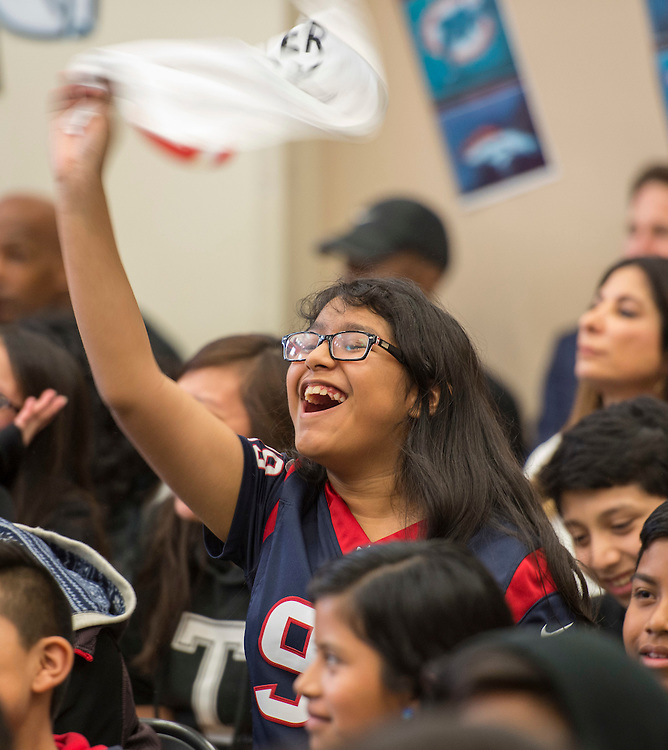 Houston launch of the Character Playbook, a joint initiative of the NFL and the United Way Worldwide at Pilgrim Academy, February 3, 2017.