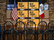 29 JANUARY 2020 - KNOXVILLE, IOWA: Tom Steyer's stage at a campaign event in Knoxville, about 40 miles southeast of Des Moines, Wednesday. About 60 people attended the event. Steyer, a California businessman, is campaigning to be the Democratic nominee for the US Presidency in 2020. Iowa holds the first selection event of the 2020 election cycle. The Iowa Caucuses are Feb. 3, 2020.         PHOTO BY JACK KURTZ