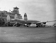01/05/1958<br /> 05/01/1958<br /> 01 May 1958 <br /> Inaugural New York to Dublin Aerlinte flight arrives at Dublin Airport. Image shows the Seaboard Super Constellation aircraft in front of the terminal at Dublin Airport.