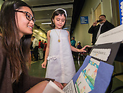 Houston ISD students share the ways they are using technology to learn in the classroom during a Digital Learning Expo at the Hattie Mae White building, March 12, 2015.
