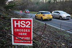 Wendover, UK. 10 January, 2020. A sign outside the newly-established Wendover Active Resistance Camp alongside the A413. Stop HS2 activists from around the UK established the camp in woodland outside Wendover on the proposed route for HS2 through the Chilterns AONB in response to requests for assistance from members of the local community opposed to the high speed rail link. The impact on the immediate area is expected to be even worse than initially expected, with not only two 500m viaducts and a 1km embankment to be constructed but also a Bentonite factory and 240-bed accommodation block.