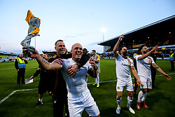 Newport County manager Michael Flynn and David Pipe of Newport County celebrate after winning through to the Sky Bet League Two Playoff Final - Mandatory by-line: Robbie Stephenson/JMP - 12/05/2019 - FOOTBALL - One Call Stadium - Mansfield, England - Mansfield Town v Newport County - Sky Bet League Two Play-Off Semi-Final 2nd Leg