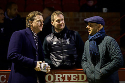 ALTRINGHAM, ENGLAND - Friday, March 10, 2017: Liverpool's Steve McManaman with Academy Director Alex Inglethorpe and Rob Jones before an Under-18 FA Premier League Merit Group A match against Manchester United at Moss Lane. (Pic by David Rawcliffe/Propaganda)