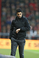 Football - 2019 / 2020 Premier League - AFC Bournemouth vs. Arsenal<br /> <br /> Arsenal Head Coach Mikel Arteta checks his watch during the Premier League match at the Vitality Stadium (Dean Court) Bournemouth  <br /> <br /> COLORSPORT/SHAUN BOGGUST