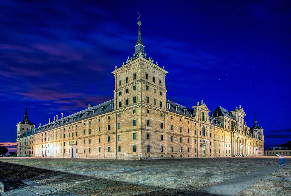 Monastery of the Royal Site of San Lorenzo de El Escorial, Madrid, Spain. View from the north-west.