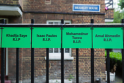 London, UK. 13 June, 2019. Signs bearing the names of those who died in the Grenfell Tower fire close to the Grenfell Tower in North Kensington. Tomorrow, the Grenfell community will mark the second anniversary of the Grenfell Tower fire on 14th June 2017 in which 72 people died and over 70 were injured. Two years on, some family members remain in temporary accommodation and many are still traumatised. Phase 2 of the Grenfell Inquiry will begin in 2020, with criminal investigation findings expected to be sent to the Crown Prosecution Service in 2021.