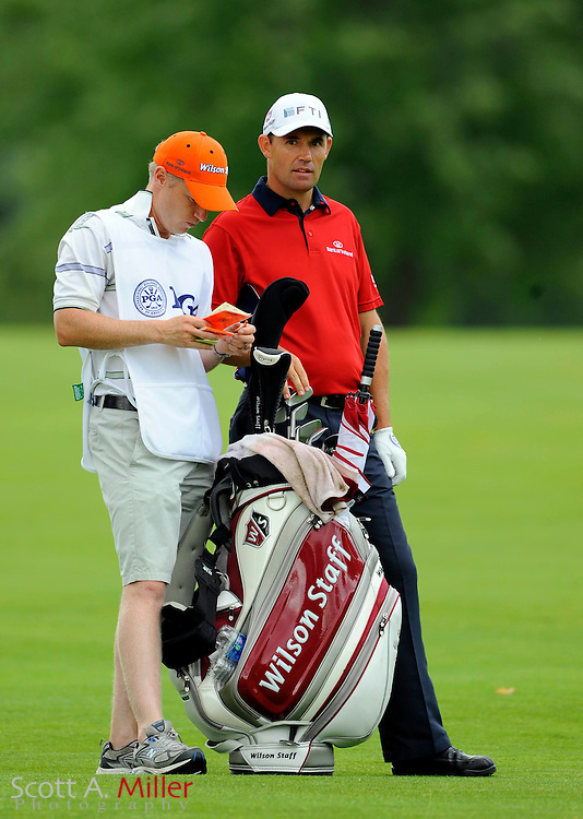 Aug 16, 2009; Chaska, MN, USA; Padraig Harrington (IRL), right, with his caddie on the third fairway during the final round of the 2009 PGA Championship at Hazeltine National Golf Club.  ©2009 Scott A. Miller