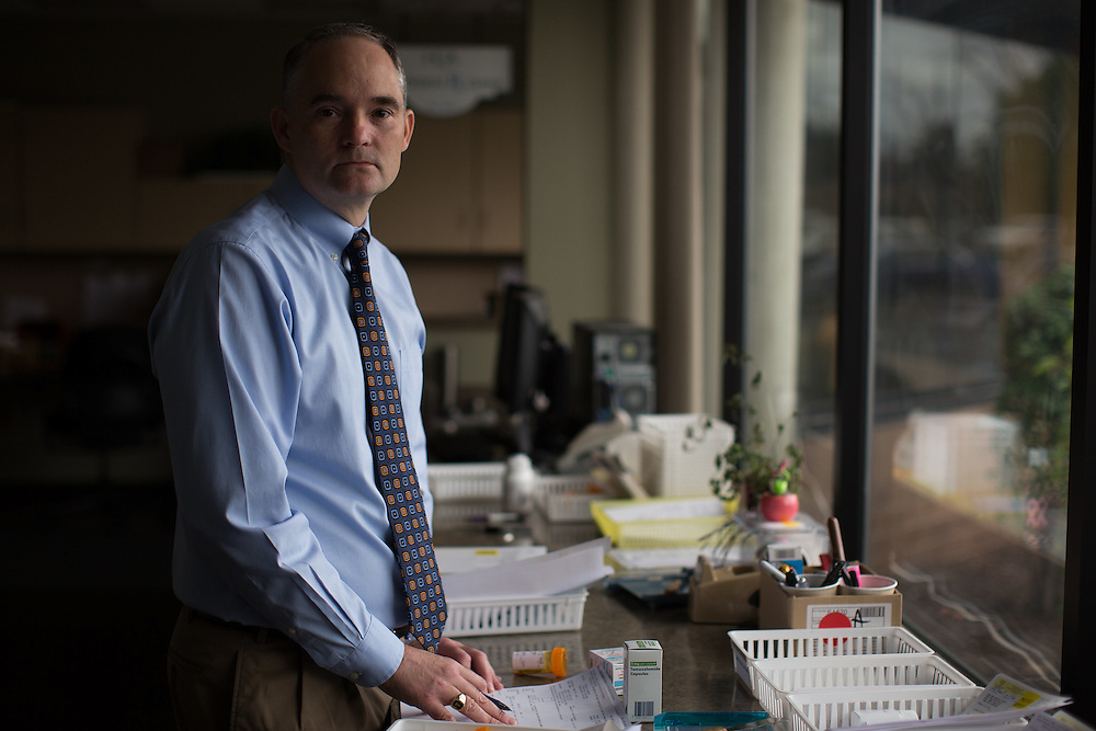 Michael Reff, RPh, MBA, is Manager of The Patient Rx Center at Hematology-Oncology Associates of Central New York in East Syracuse, New York on Monday, October 24, 2016. CREDIT: Mike Bradley for the Wall Street Journal<br /> CANCERPILLS