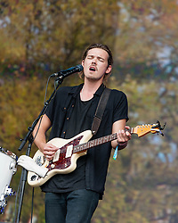 © Licensed to London News Pictures. 12/07/2014. London, UK.   Midlake performing live at Hyde Park as part of the British Summer Time series of outdoor concerts.   Midlake are an American folk rock band consisting of members McKenzie Smith (drums), Paul Alexander (bass), Eric Nichelson (guitar/lead vocals), Eric Pulido, Jesse Chandler (keyboards),Joey McClellan (guitars).Photo credit : Richard Isaac/LNP