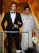 Armie Hammer and Zoe Saldana present Male Actor in a TV Movie or Miniseries. The 18th Annual Screen Actors Guild Awards were held at the Shrine Exposition Center in Los Angeles, CA 1/29/2012(John McCoy/Staff Photographer)
