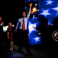 TAMPA, FL -- October 25, 2010 -- Republican candidate for governor Rick Scott greets supporters, with wife, Ann, in tow, at a post-debate rally in Tampa, Fla., on Monday, September 25, 2010.  Scott was kicking off his final week of campaigning in the heated race for Florida Governor against Democrat Alex Sink.