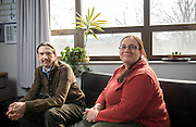 Research Assistant Professor Paul King and <br /> Associate Professor Julie Roche in Roche's office at the Edwards Accelerator LAB in Athen, Ohio. Photo by Ben Siegel