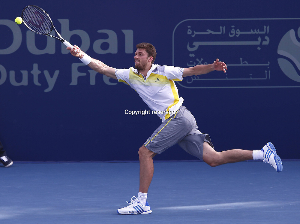 25.02.2013. Dubai, United Arab Emirates.   Dubai Tennis Championships 2013 ATP Tennis Mens tournament, Dubai Stadium. Daniel Brands ger