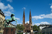 Deutschland Germany Hessen.Hessen, Wiesbaden.Luisenplatz, Bonifatiuskirche., Luisen Square, Bonifatius church...