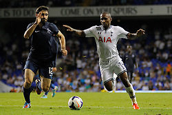 29.08.2013, White Hart Lane, London, ENG, UEFA CL Qualifikation, Tottenham Hotspur vs FC Dinamo Tiflis, Rueckspiel, im Bild Dinamo Tbilisi's David Khurtsilava and Tottenham's Jermain Defoe during the UEFA Europa League Qualifier second leg match between Tottenham Hotspur and FC Dinamo Tiflis Zuerich at the White Hart Lane in London, England on 2013/08/29 . EXPA Pictures © 2013, PhotoCredit: EXPA/ Mitchell Gunn <br /> <br /> ***** ATTENTION - OUT OF GBR *****
