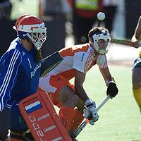 MELBOURNE - Champions Trophy men 2012<br /> Netherlands v Australia 0-0<br /> foto:  Jaap Stockman en Marcel Balkenstein stoppen een strafcorner.<br /> FFU PRESS AGENCY COPYRIGHT FRANK UIJLENBROEK