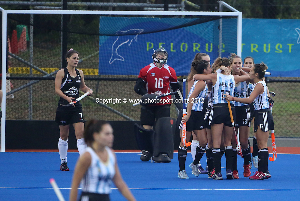 Argentina celebrate a goal in the Four Nations final womens hockey test between the Black Sticks women and Argentina played at Blake Park, Tauranga, New Zealand. Sunday, 21 April, 2013. Photo: John Cowpland / photosport.co.nz